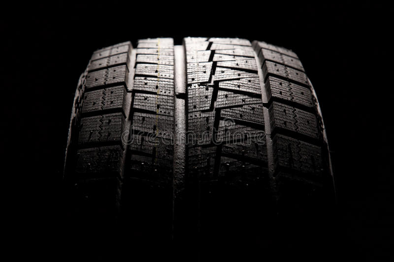 Brand new car tyre close-up. stock image