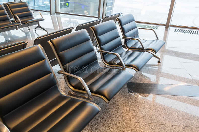 Brand new departure lounge at airport. Photograph of a brand new departure lounge at airport royalty free stock photography