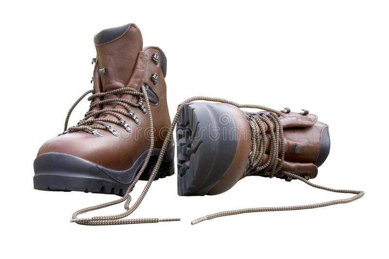 Brand New Hiking Boots Isolated on White royalty free stock images