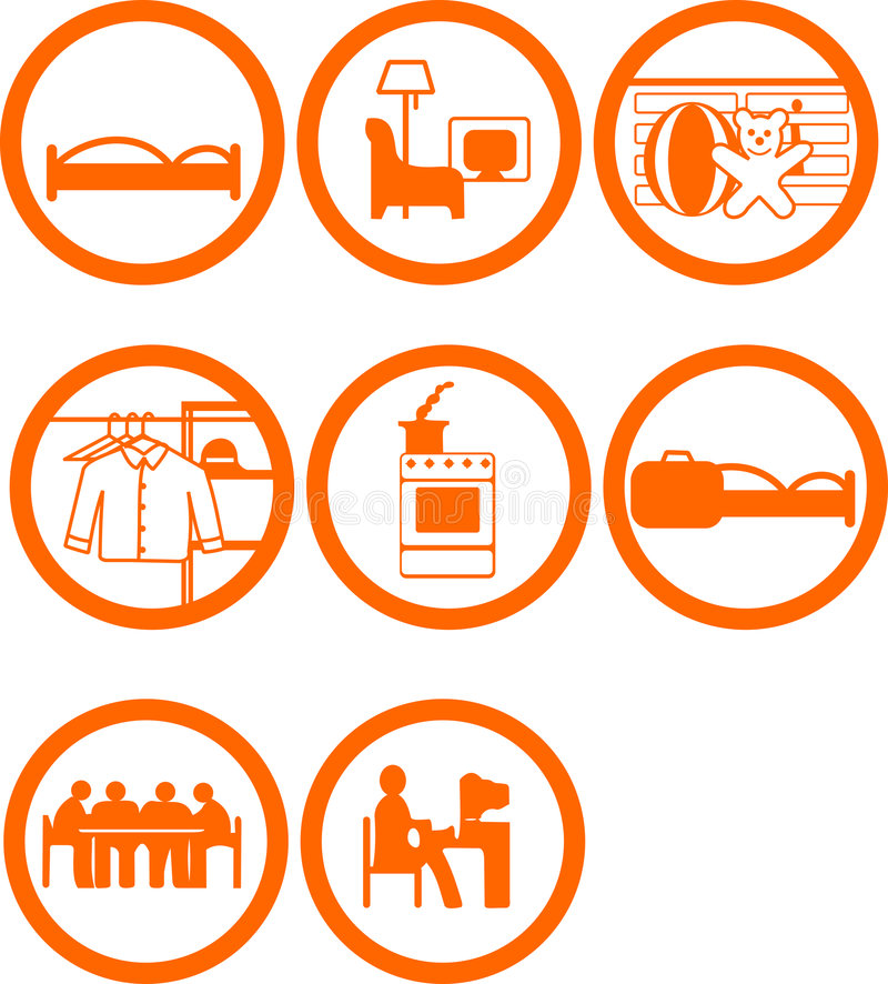Download Brand New Home Rooms Icons stock vector. Image of public - 3432380