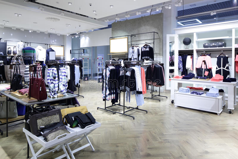 Brand new interior of cloth store royalty free stock image