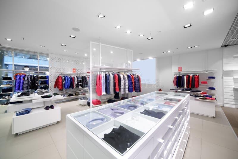 Brand new interior of cloth store stock image