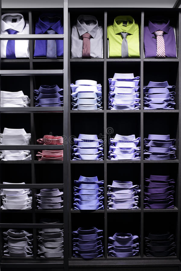 Brand new interior of cloth store. Luxury and fashionable brand new interior of cloth store stock image