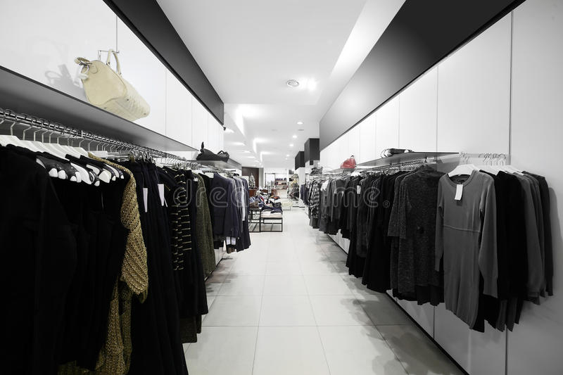 Brand new interior of cloth store. Luxury and fashionable brend new interior of cloth store stock photo