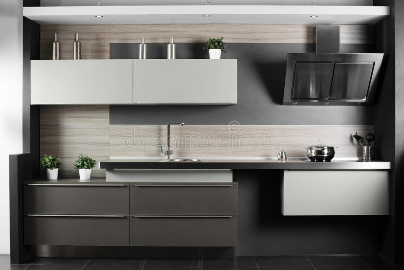 Brand new modern kitchen royalty free stock photography
