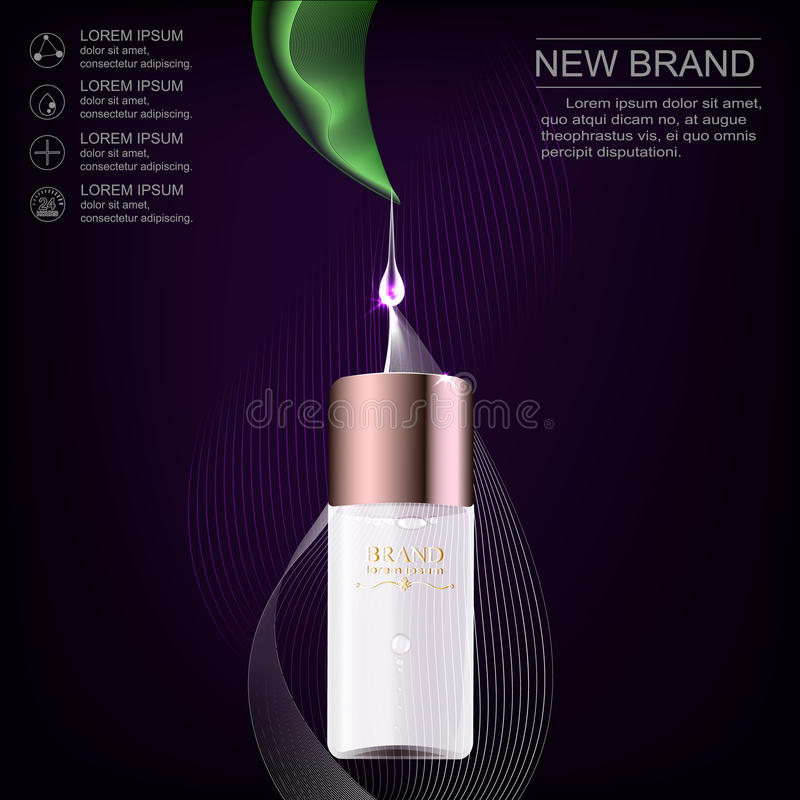 Brand new pattern cosmetic ads, glass bottle drops of essence oil isolated on dark background. Vector illustration stock illustration