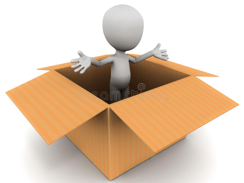 Brand new person. A person coming out of a cardboard box, concept of new start, new personality or gaining new skills, white background royalty free illustration