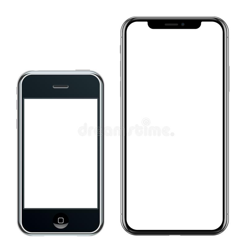 Brand new realistic mobile phone black smartphone in Apple iPhone and iPhone X royalty free illustration