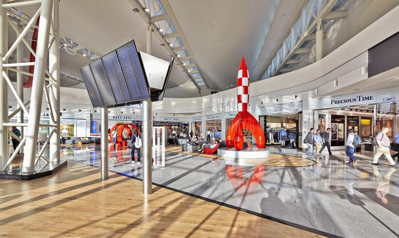 Brand-new shopping environment at Brussels airport stock image