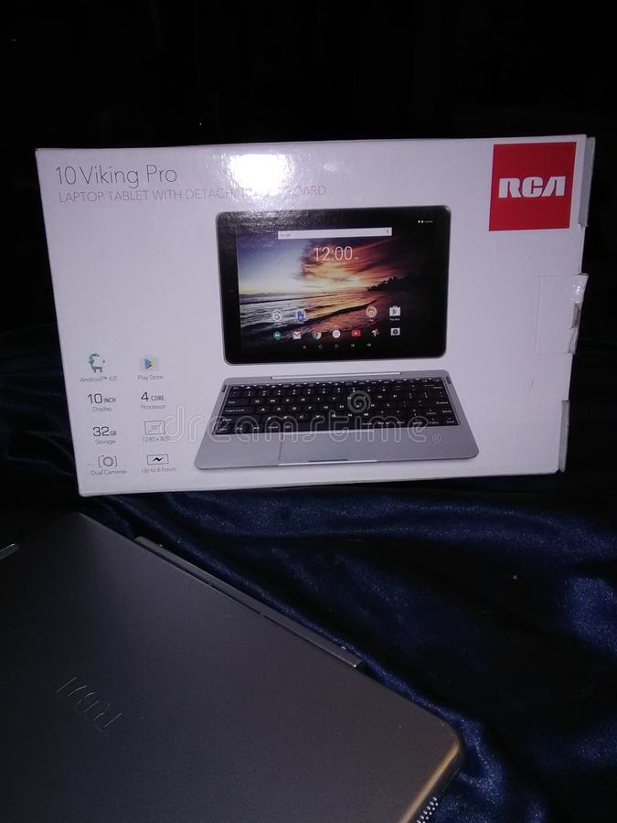 Brand new tablet Laptop with deattachable keyboard stock photography