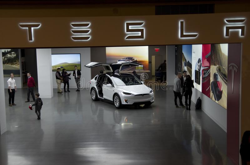 Tesla Car Show Room in Bellevue Mall. A brand new Tesla electronic car was shown in Bellevue Mall, Seattle, Washington State stock images