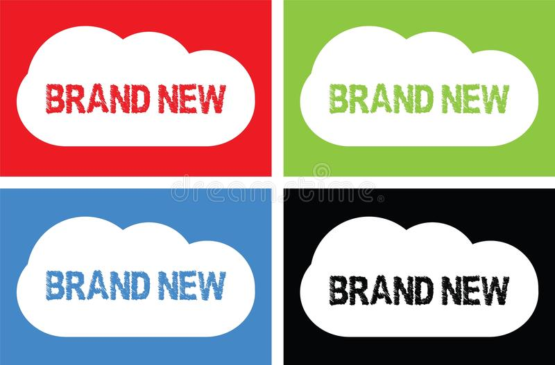 BRAND NEW text, on cloud bubble sign. vector illustration