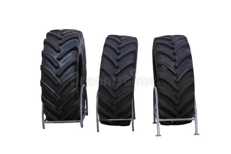 Brand new Tractor tires isolated on white background. royalty free stock photography