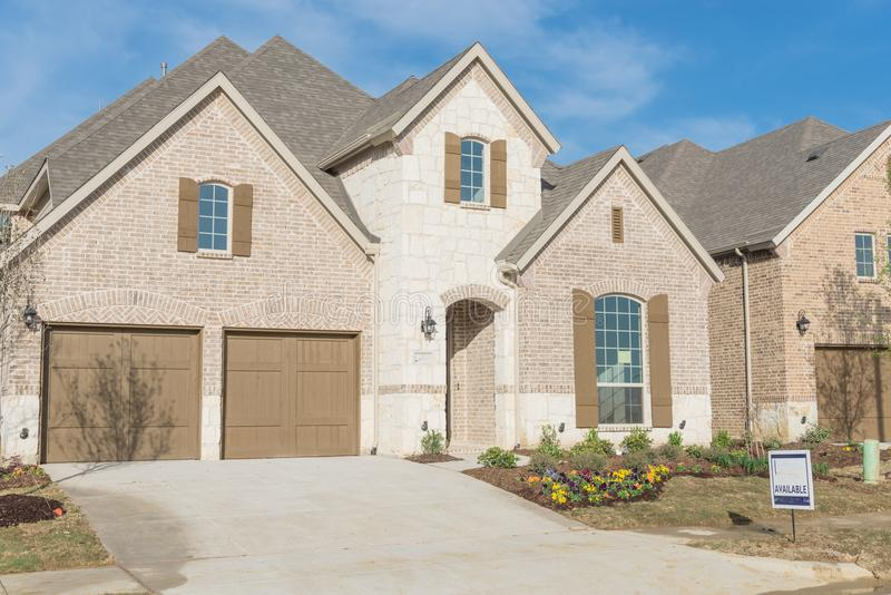 Brand new two story residential house in suburban Irving, Texas, USA stock image