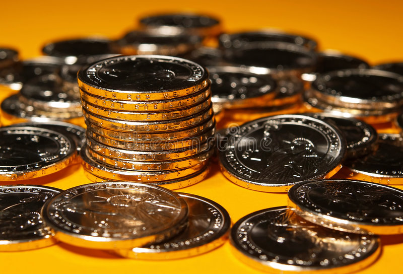 The brand new US dollar coins royalty free stock image
