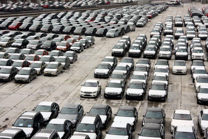 Brand-new vehicles at port stock image