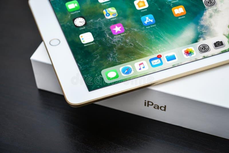 Brand new white Apple iPad Gold royalty free stock photos