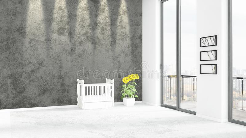 Brand new white loft bedroom minimal style interior design with copyspace wall and view out of window. 3D Rendering. stock illustration