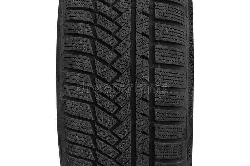 Brand new winter tires with a modern tread stock photo