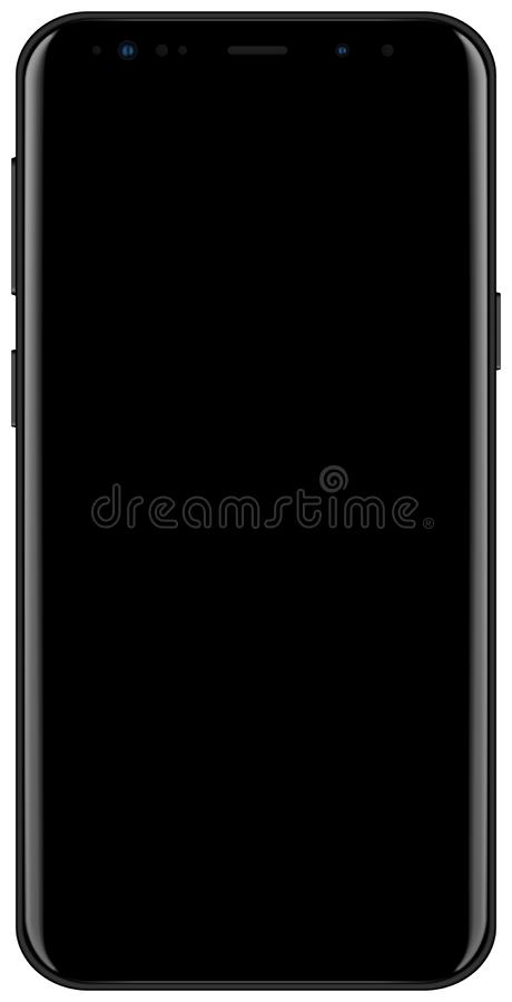 Brand new 2018 year smartphone black color with empty screen isolated on white background mockup. Front view of modern android mul vector illustration