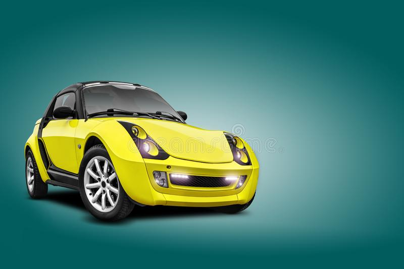 Brand new yellow car on blue background. A realistic shadow is drawn in under it. Collage. Copy space, close-up. Brand new yellow car on blue background. A royalty free stock photography