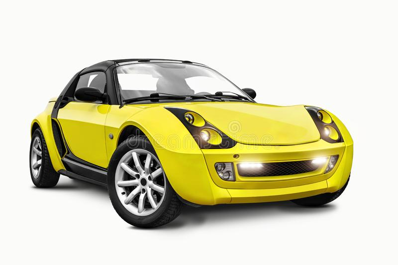 Brand new yellow car isolated on white background. A realistic shadow is drawn in under it. Collage. Copy space, close. Brand new yellow car isolated on white royalty free stock image