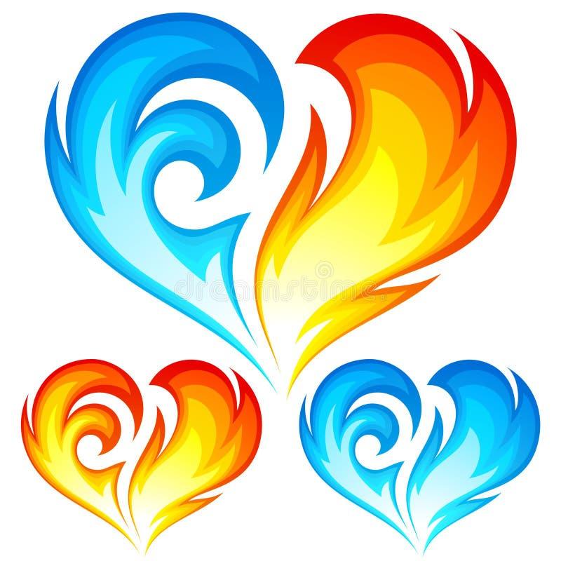 Brand- och isvektorhjärtor. Symbol av förälskelse stock illustrationer