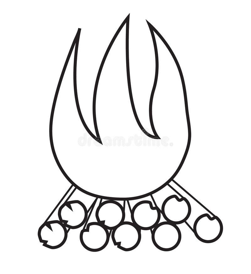 Brand op de aard van het brandhout vector illustratie