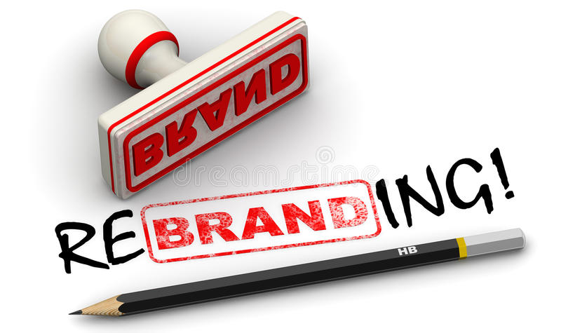 Brand - rebrending. Seal and imprint. Red seal and imprint `BRAND` corrected to `REBRANDING!` on white surface. . 3D Illustration royalty free illustration