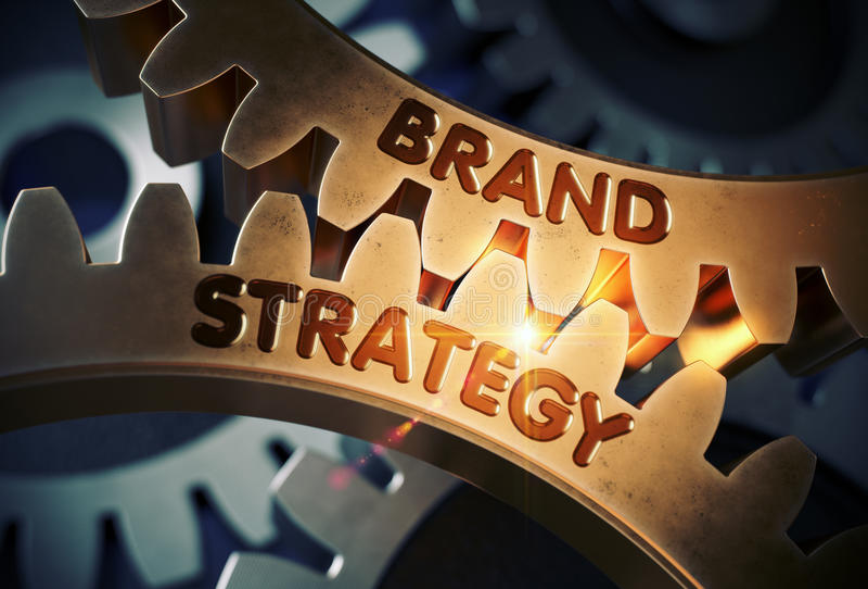 Brand Strategy Concept. Golden Cog Gears. 3D Illustration. Brand Strategy - Concept. Brand Strategy on Mechanism of Golden Cogwheels with Glow Effect. 3D royalty free stock photos
