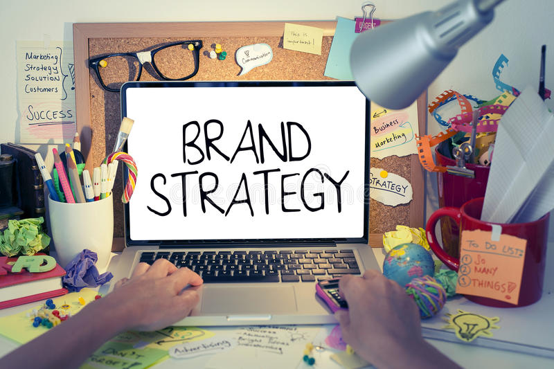 Brand Strategy. Identity and company name advertising concept stock images