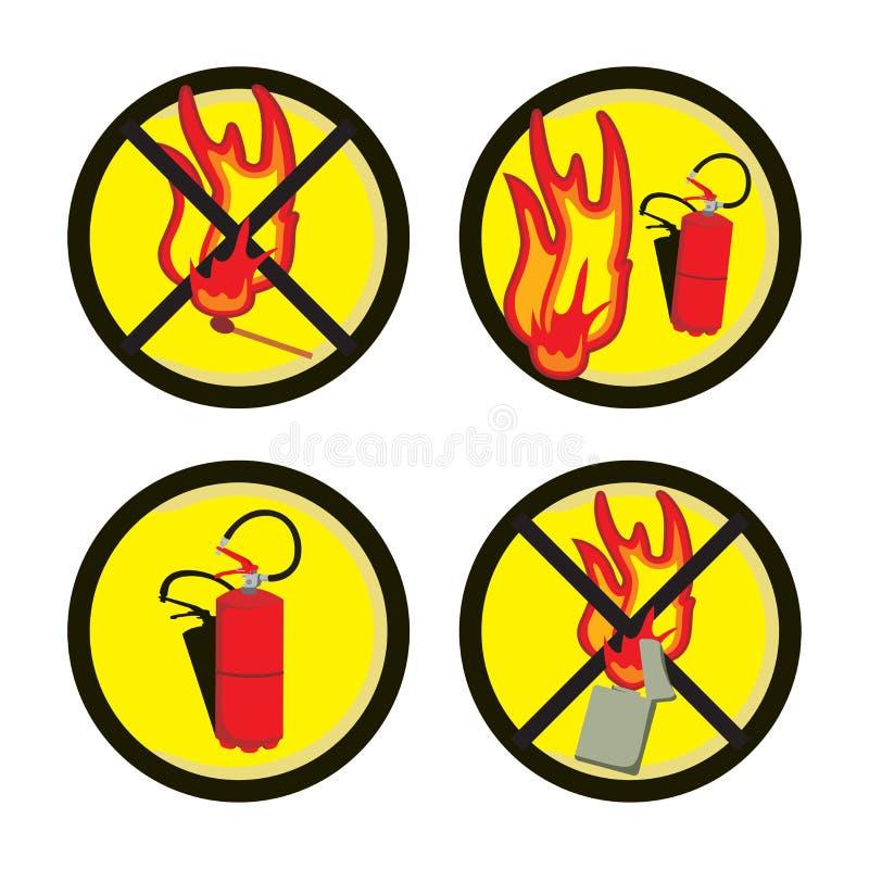 brand undertecknar varning stock illustrationer