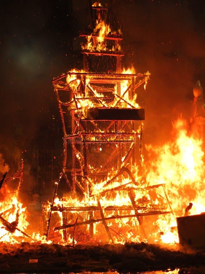 Brand van Las Fallas stock foto