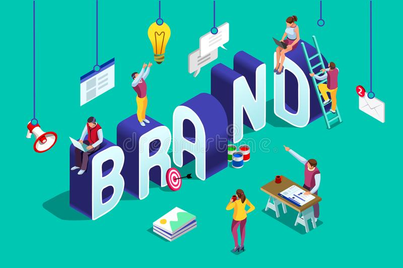 Brand vector text isometric logo royalty free illustration