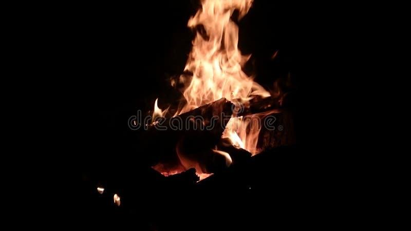 brand Vedträ i mörkret arkivfoto