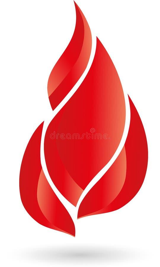 Brand, vlam, brandembleem royalty-vrije illustratie
