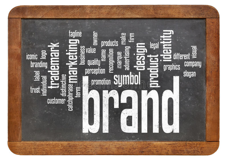 Brand word cloud on blackboard royalty free stock photos