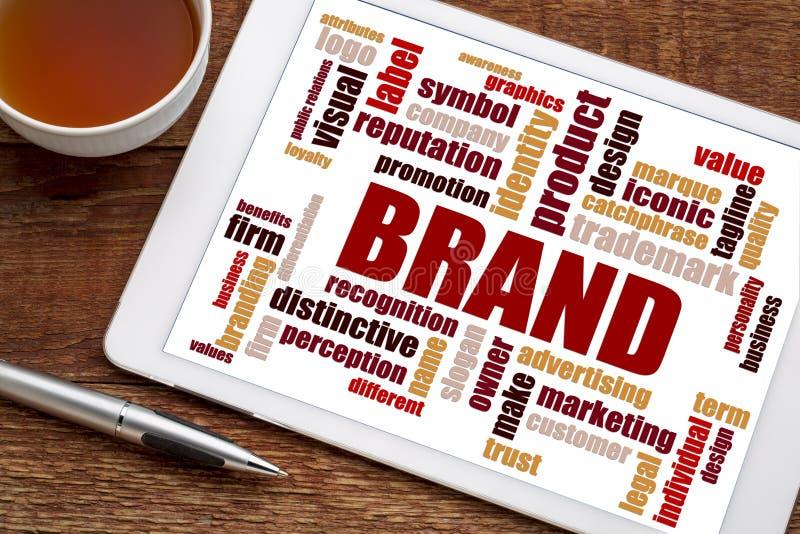 Brand word cloud on digital tablet royalty free stock photos