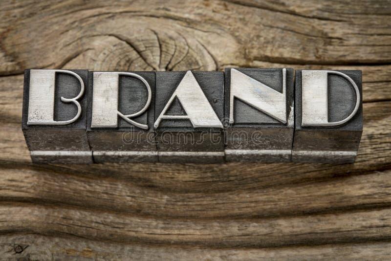 Brand word in metal type stock photos