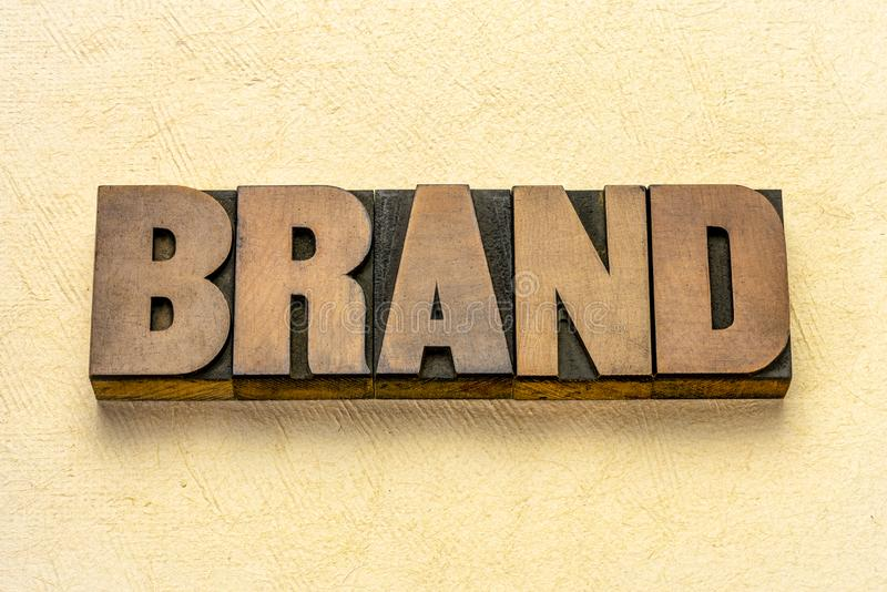 Brand word in vintage wood type stock photos