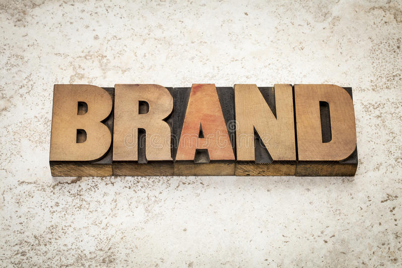 Brand word in wood type royalty free stock photos