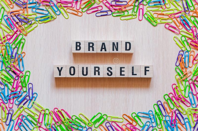 Brand yourself words concept royalty free stock photography