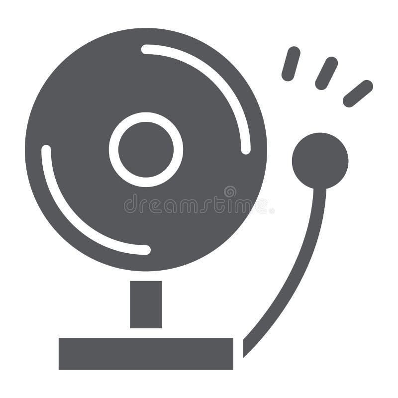 Brandalarm glyph pictogram, waarschuwing en noodsituatie, waakzaam teken, vectorafbeeldingen, een stevig patroon op een witte ach vector illustratie