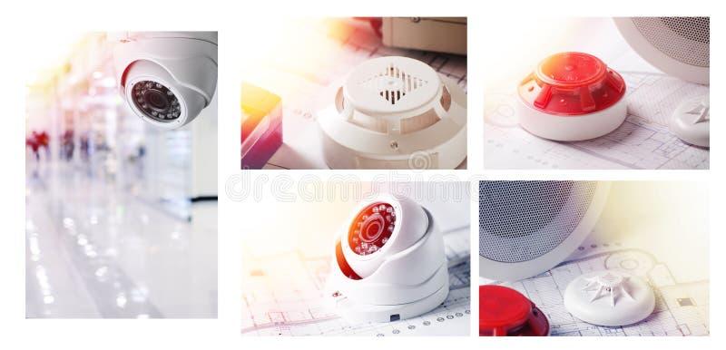 Brandalarmsysteem en videobeveiligingsapparatuur Reeks van Foto'sgoed voor de techniekbedrijf van de veiligheidsdienst royalty-vrije stock fotografie