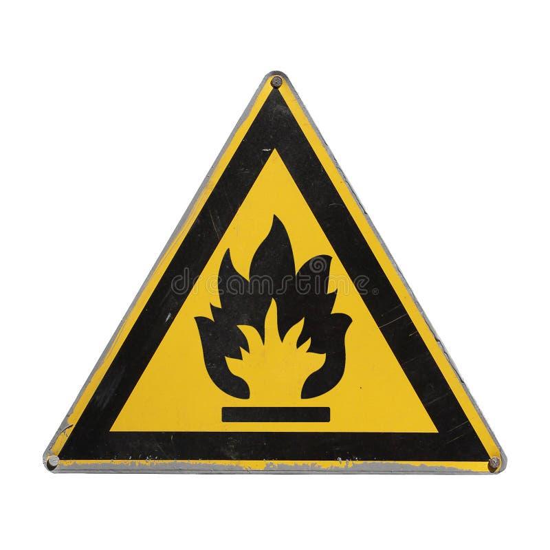 Brandbaar pictogram Gele driehoek Geïsoleerde royalty-vrije stock foto