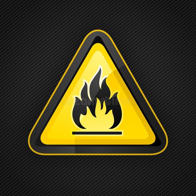 Brandbare waarschuwingsbord van de gevaargevarendriehoek het hoogst royalty-vrije illustratie
