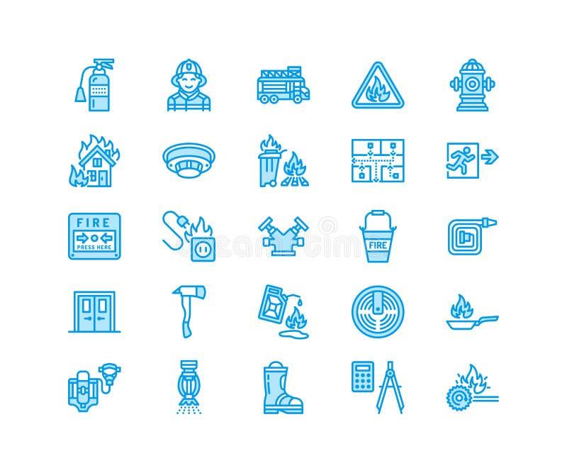 Brandbekämpning linje symboler för lägenhet för brandsäkerhetsutrustning Brandmanbilen, eldsläckaren, rökavkännaren, huset, fara  royaltyfri illustrationer