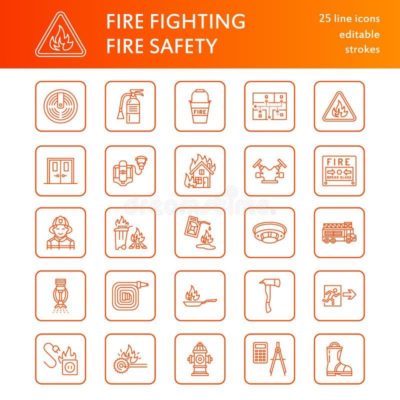 Brandbekämpning linje symboler för lägenhet för brandsäkerhetsutrustning Brandman brandmotor, eldsläckare, rökavkännare, hus vektor illustrationer