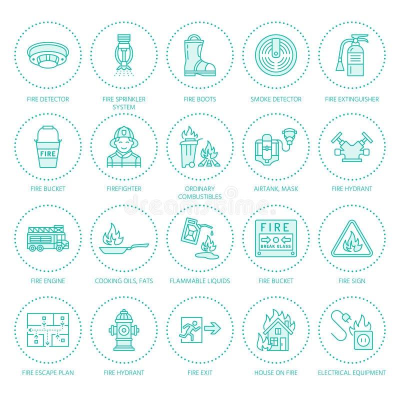 Brandbekämpning linje symboler för lägenhet för brandsäkerhetsutrustning Brandman eldsläckare för brandmotor, rökavkännare, hus vektor illustrationer