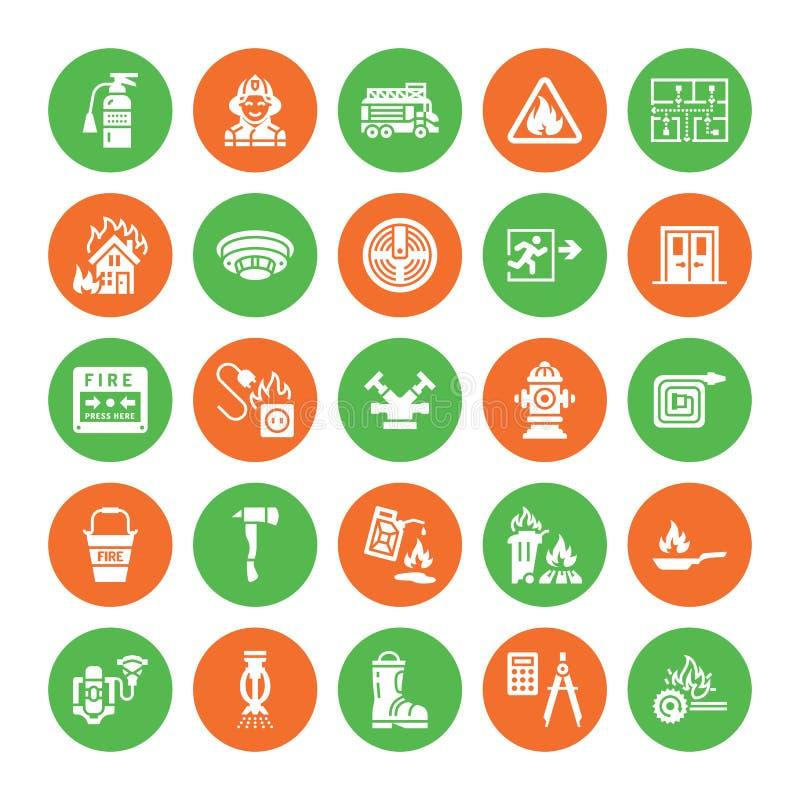 Brandbekämpning symboler för skåra för lägenhet för brandsäkerhetsutrustning Brandmanbilen, eldsläckaren, rökavkännaren, huset, f royaltyfri illustrationer